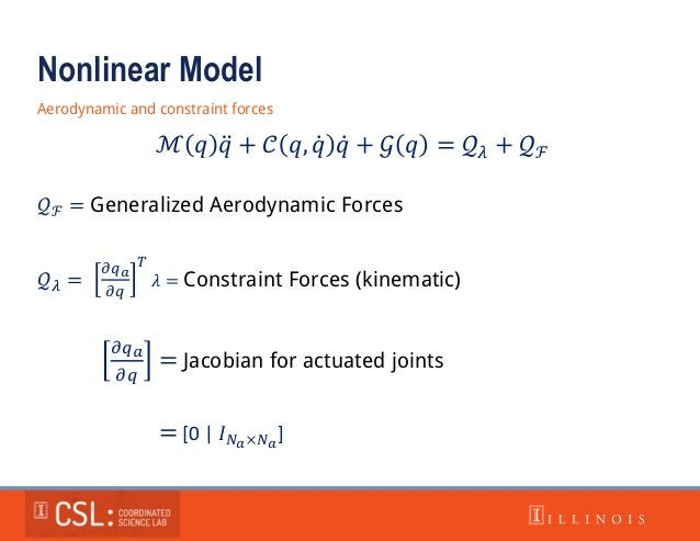 Nonlinear Model Aerodynamic and constraint forces ℳ 𝑞 𝑞 + 𝒞 𝑞, 𝑞 𝑞 + 𝒢 𝑞 = 𝒬 𝜆 + 𝒬ℱ 𝒬ℱ = Generalized Aerodynamic Forces 𝒬 ...