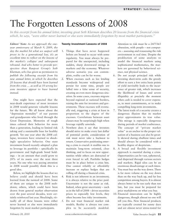 seth klarman: the forgotten lessons of 2008