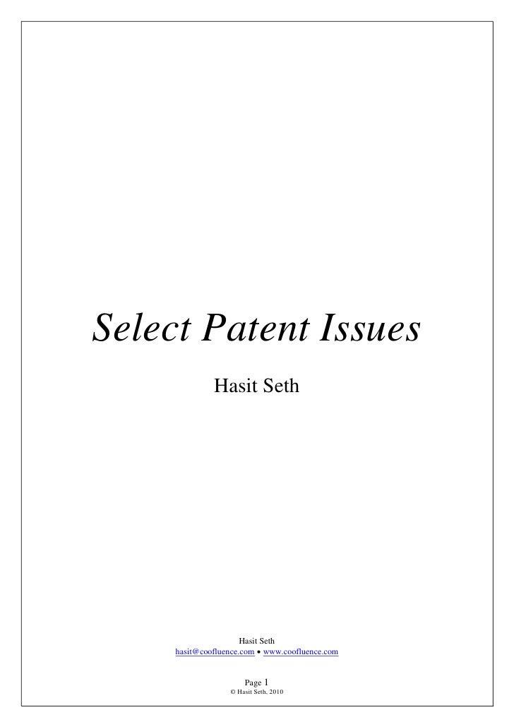 Select Patent Issues               Hasit Seth                           Hasit Seth      hasit@coofluence.com  www.cooflue...