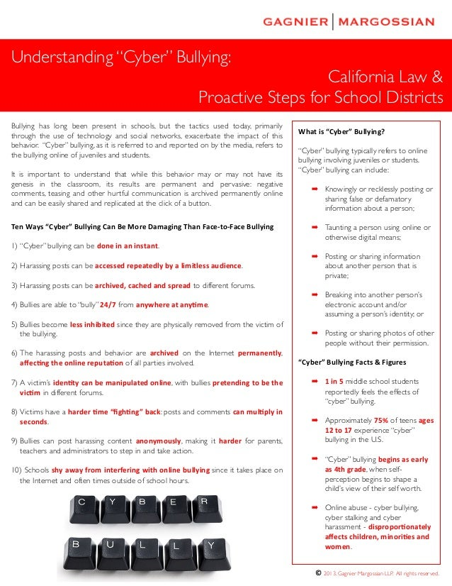 "© 2013. Gagnier Margossian LLP. All rights reserved. Understanding ""Cyber"" Bullying: California Law & Proactive Steps for ..."