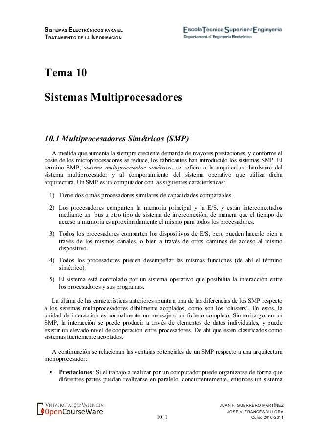 SISTEMAS ELECTRÓNICOS PARA EL TRATAMIENTO DE LA INFORMACIÓN 10. 1 JUAN F. GUERRERO MARTÍNEZ JOSÉ V. FRANCÉS VILLORA Curso ...