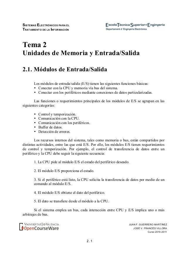 SISTEMAS ELECTRÓNICOS PARA EL TRATAMIENTO DE LA INFORMACIÓN 2. 1 JUAN F. GUERRERO MARTÍNEZ JOSÉ V. FRANCÉS VILLORA Curso 2...