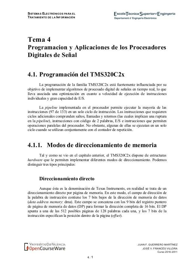 SISTEMAS ELECTRÓNICOS PARA EL TRATAMIENTO DE LA INFORMACIÓN 4. 1 JUAN F. GUERRERO MARTÍNEZ JOSÉ V. FRANCÉS VILLORA Curso 2...