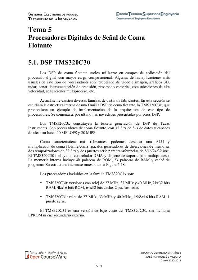 SISTEMAS ELECTRÓNICOS PARA EL TRATAMIENTO DE LA INFORMACIÓN 5. 1 JUAN F. GUERRERO MARTÍNEZ JOSÉ V. FRANCÉS VILLORA Curso 2...