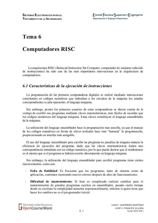 SISTEMAS ELECTRÓNICOS PARA EL TRATAMIENTO DE LA INFORMACIÓN 6. 1 JUAN F. GUERRERO MARTÍNEZ JOSÉ V. FRANCÉS VILLORA Curso 2...