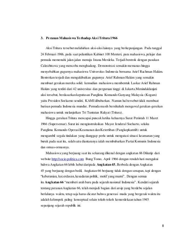 essay tentang peran mahasiswa dalam aksi tritura