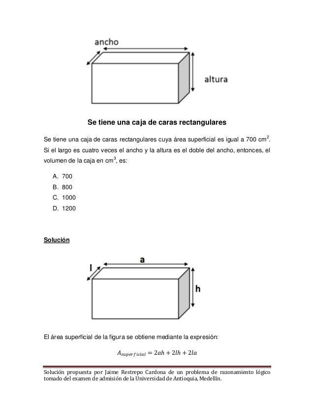Se tiene una caja de caras rectangulares cuya rea superficial for Como hacer un sobre rectangular