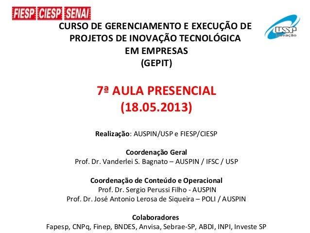 CURSO DE GERENCIAMENTO E EXECUÇÃO DEPROJETOS DE INOVAÇÃO TECNOLÓGICAEM EMPRESAS(GEPIT)7ª AULA PRESENCIAL(18.05.2013)Realiz...