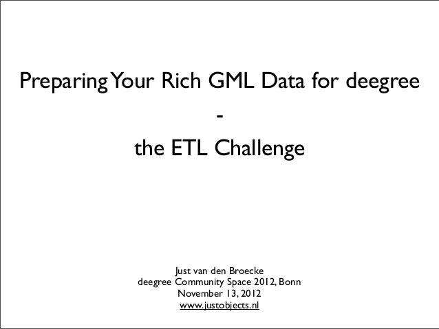PreparingYour Rich GML Data for deegree-the ETL ChallengeJust van den Broeckedeegree Community Space 2012, BonnNovember 13...