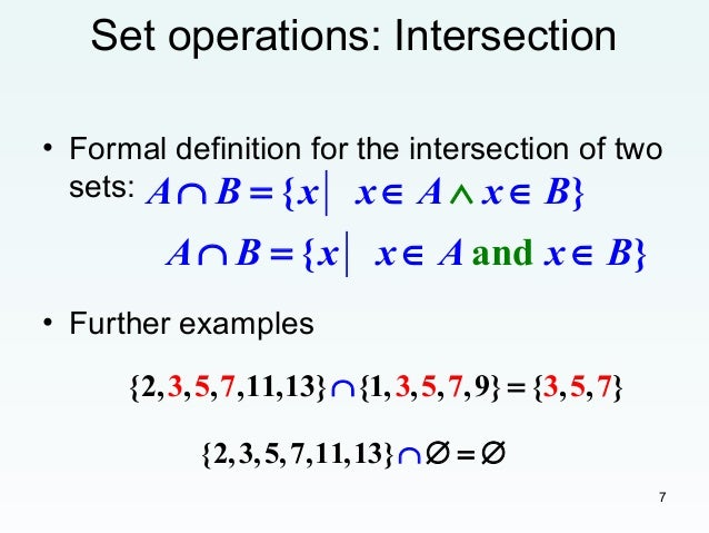 Set Operations Topic Including Union Intersection
