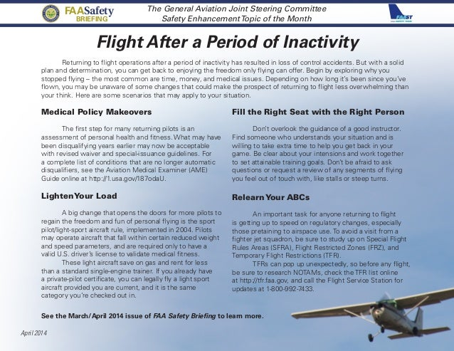 Flight After a Period of Inactivity FAA Safety Team Central