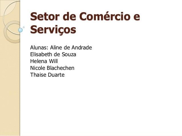 Setor de Comércio e Serviços Alunas: Aline de Andrade Elisabeth de Souza Helena Will Nicole Blachechen Thaise Duarte