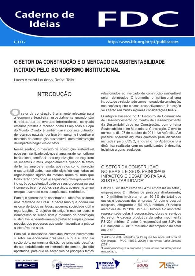 Gestão Estratégica do Suprimento e o Impacto no Desempenho das Empresas Brasileiras  CI1117  O Setor da Construção e o Mer...