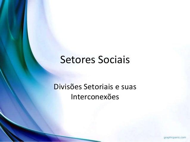 Setores Sociais Divisões Setoriais e suas Interconexões