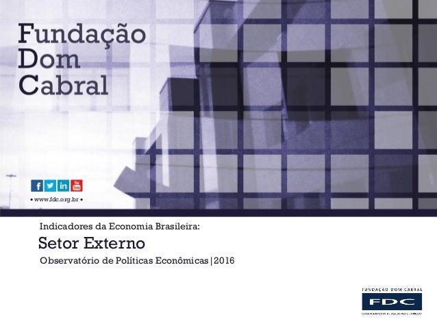  www.fdc.org.br  Indicadores da Economia Brasileira: Setor Externo Observatório de Políticas Econômicas 2016