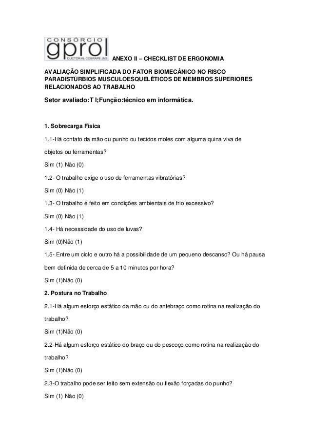 ANEXO II – CHECKLIST DE ERGONOMIA AVALIAÇÃO SIMPLIFICADA DO FATOR BIOMECÂNICO NO RISCO PARADISTÚRBIOS MUSCULOESQUELÉTICOS ...
