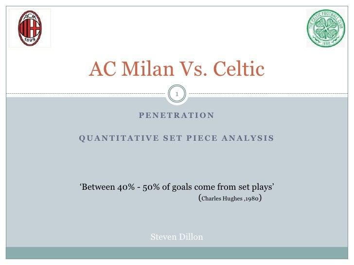 Penetration<br />Quantitative Set Piece Analysis<br />AC Milan Vs. Celtic<br />'Between 40% - 50% of goals come from set p...