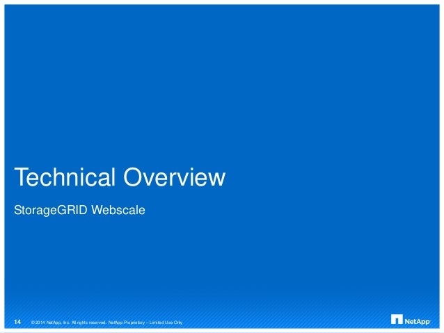 Technical Overview StorageGRID Webscale © 2014 NetApp, Inc. All rights reserved. NetApp Proprietary – Limited Use Only14