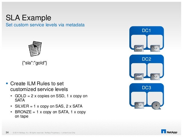  Create ILM Rules to set customized service levels  GOLD = 2 x copies on SSD, 1 x copy on SATA  SILVER = 1 x copy on SA...