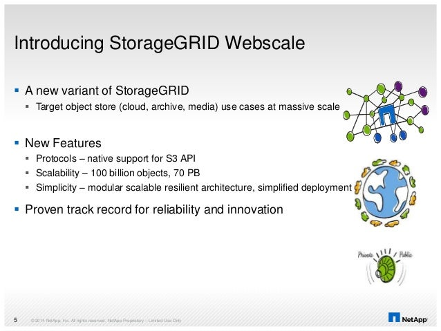 Introducing StorageGRID Webscale  A new variant of StorageGRID  Target object store (cloud, archive, media) use cases at...