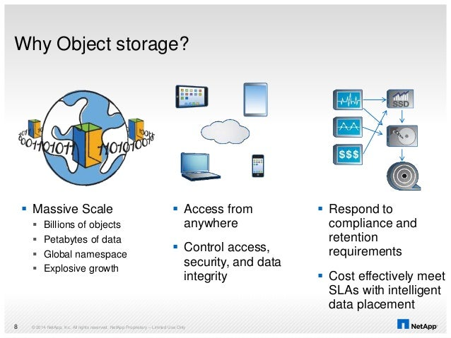 Why Object storage? © 2014 NetApp, Inc. All rights reserved. NetApp Proprietary – Limited Use Only8  Massive Scale  Bill...