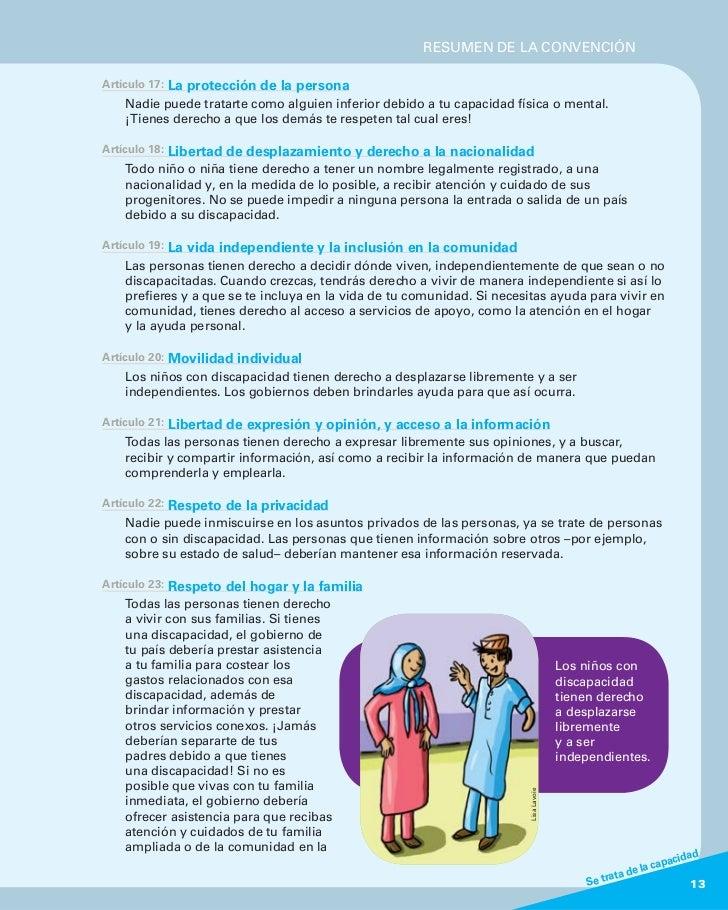 RESUMEN DE LA CONVENCIÓNArtículo 17:   La protección de la persona    Nadie puede tratarte como alguien inferior debido a ...