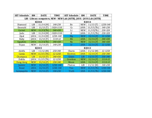 SET Schedule RM            DATE        TIME    SET Schedule RM         DATE       TIME           LIB - Library computers, ...