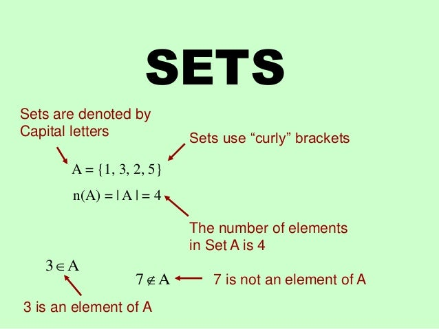 """SETS A = {1, 3, 2, 5} n(A) =   A   = 4 Sets use """"curly"""" brackets The number of elements in Set A is 4 Sets are denoted by ..."""