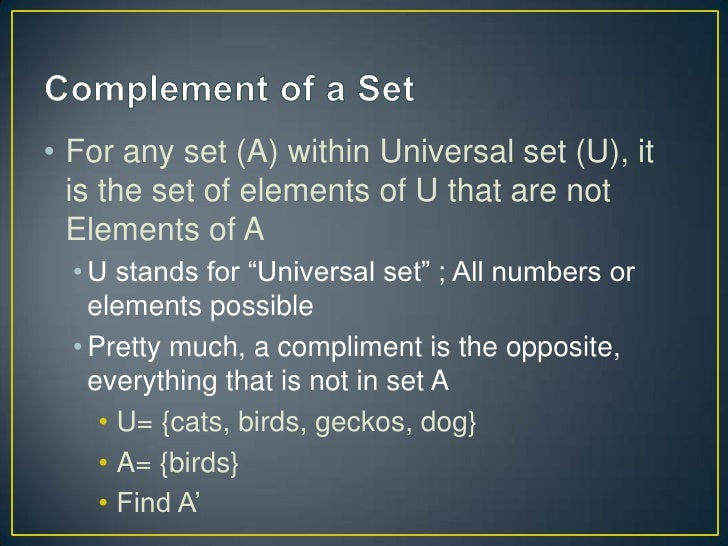 Sets, subsets, compliments