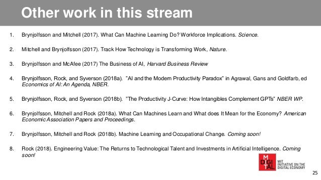Other work in this stream 1. Brynjolfsson and Mitchell (2017). What Can Machine Learning Do? Workforce Implications. Scien...