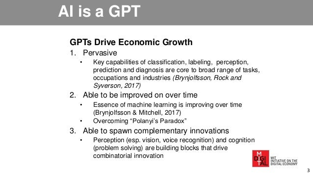 AI is a GPT GPTs Drive Economic Growth 1. Pervasive • Key capabilities of classification, labeling, perception, prediction...