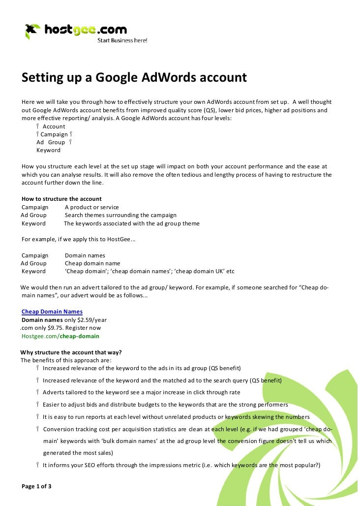 Setting up a Google AdWords account Here we will take you through how to effectively structure your own AdWords account fr...