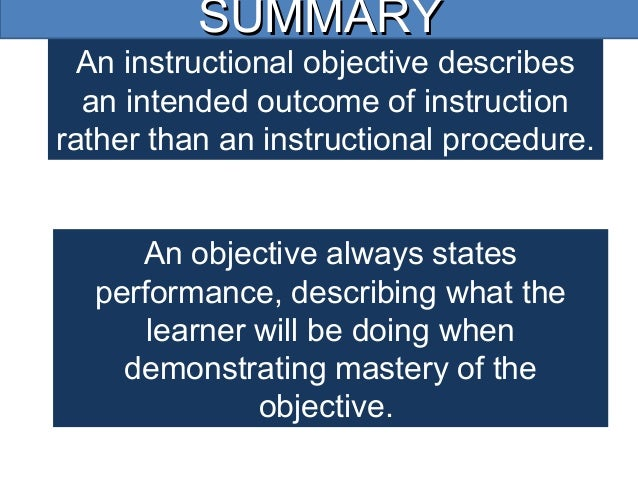 How to write clear instructional objectives