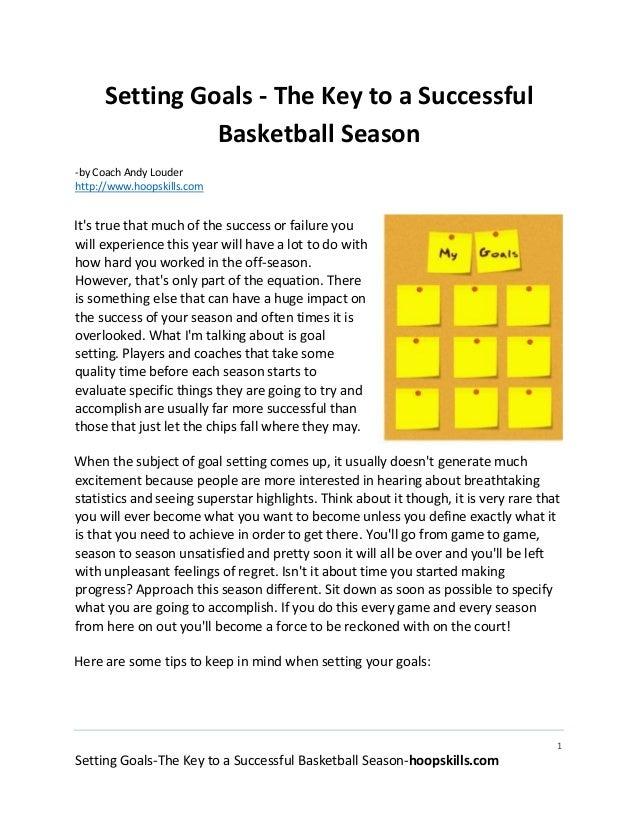 Setting Goals The Key To A Successful Basketball Season