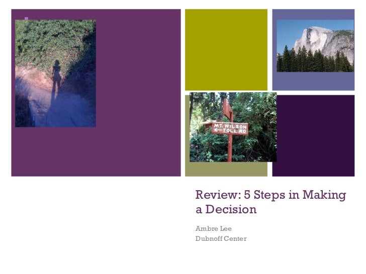 Review: 5 Steps in Making a Decision Ambre Lee Dubnoff Center