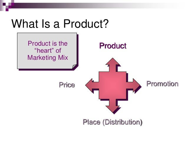 "What Is a Product? Promotion Place (Distribution) Price ProductProduct is the ""heart"" of Marketing Mix"