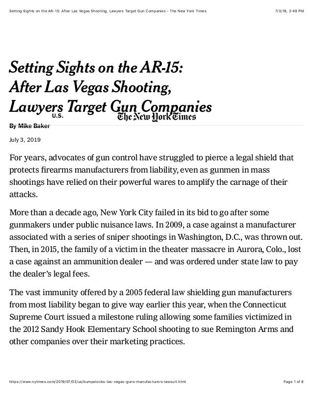 7/3/19, 2)49 PMSetting Sights on the AR-15: After Las Vegas Shooting, Lawyers Target Gun Companies - The New York Times Pa...