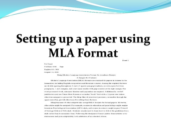 mla style example Modern language association (mla) format and documentation in this example from the first page of an mla-style paper, the student's name is sarah trude, her.