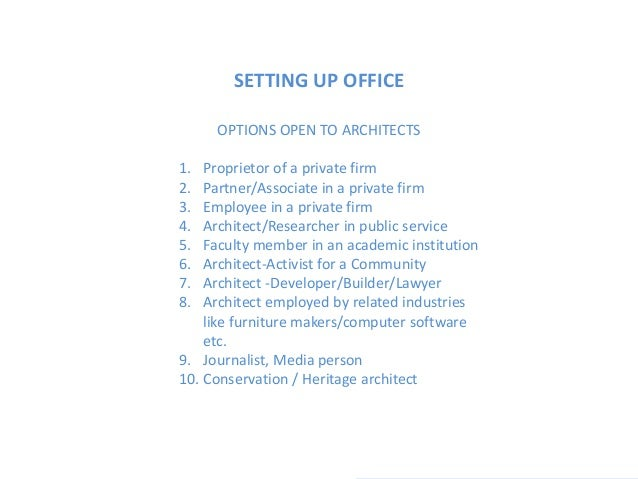 Setting up architectural practice Slide 3