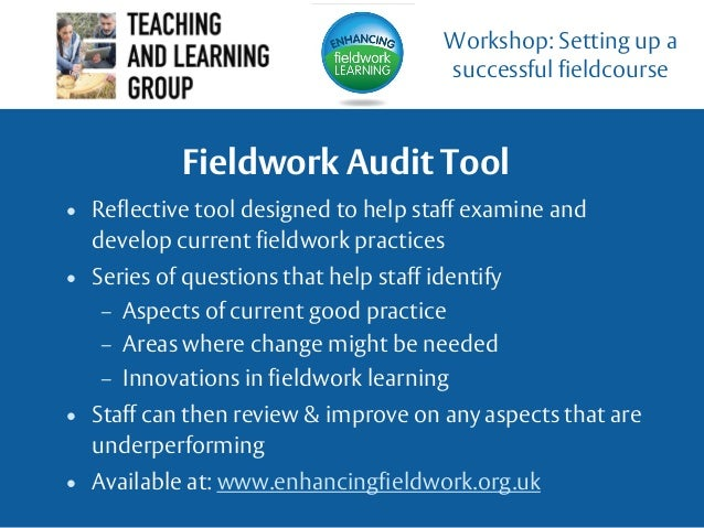 Fieldwork Audit Tool • Reflective tool designed to help staff examine and develop current fieldwork practices • Series of ...