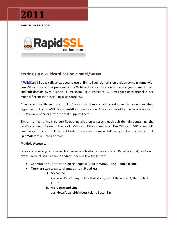 Finding Wildcard Ssl Installation On Cpanel Whm Guidline Here At R