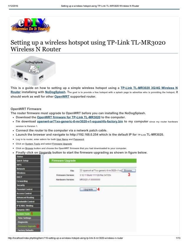 Setting up a wireless hotspot using tp link tl-mr3020