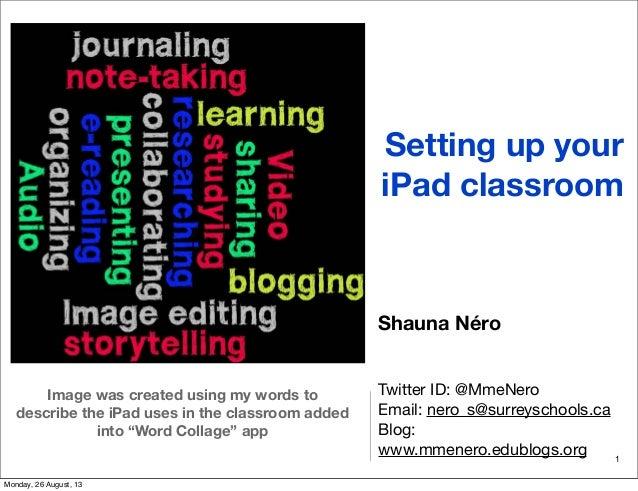 Setting up your iPad classroom Shauna Néro Twitter ID: @MmeNero Email: nero_s@surreyschools.ca Blog: www.mmenero.edublogs....