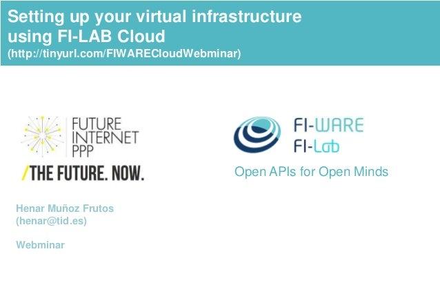 Open APIs for Open Minds Setting up your virtual infrastructure using FI-LAB Cloud (http://tinyurl.com/FIWARECloudWebminar...