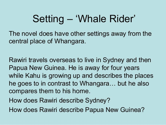 whale rider themes essays Essays - largest database of quality sample essays and research papers on the whale rider book theme analysis.