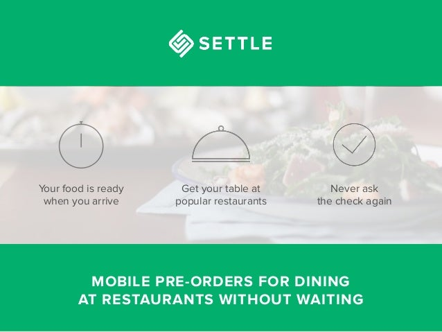 Settle — food pre-ordering and table booking app