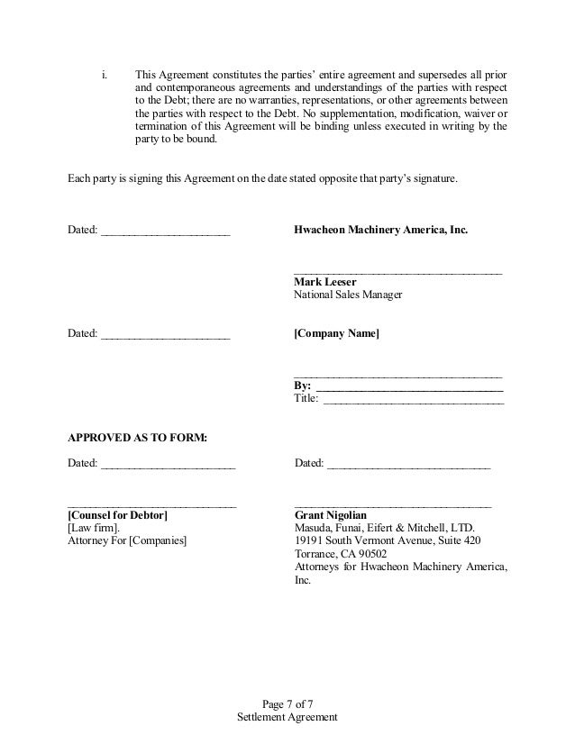 Sample Settlement Agreement. Divorce Settlement Agreement Template ...