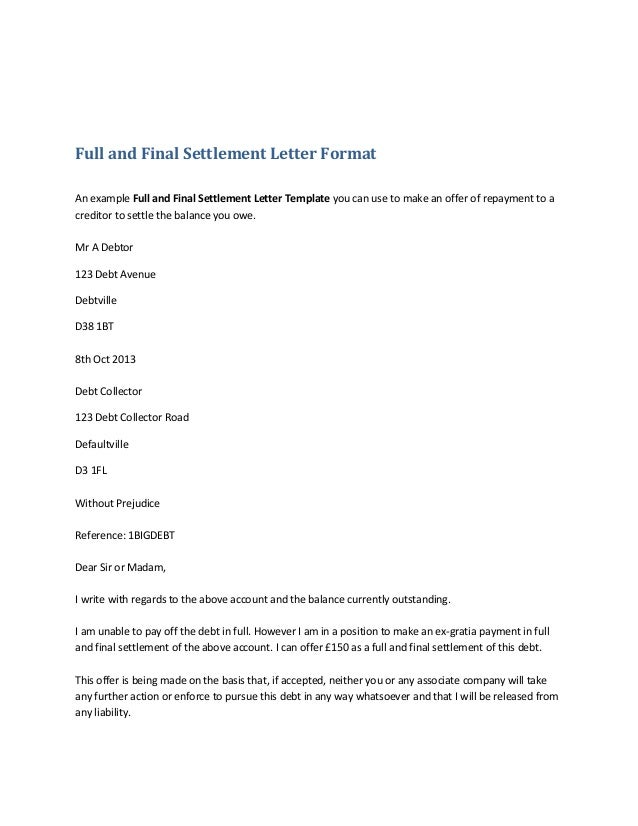 full and final settlement letter template - settlement letter format