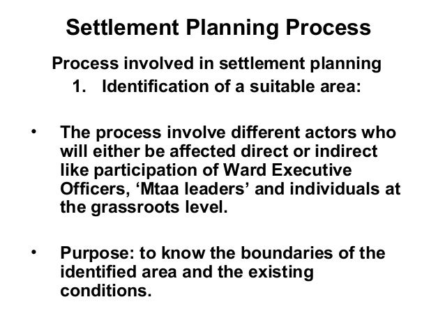 Settlement Planning Process Process involved in settlement planning 1. Identification of a suitable area: • The process in...