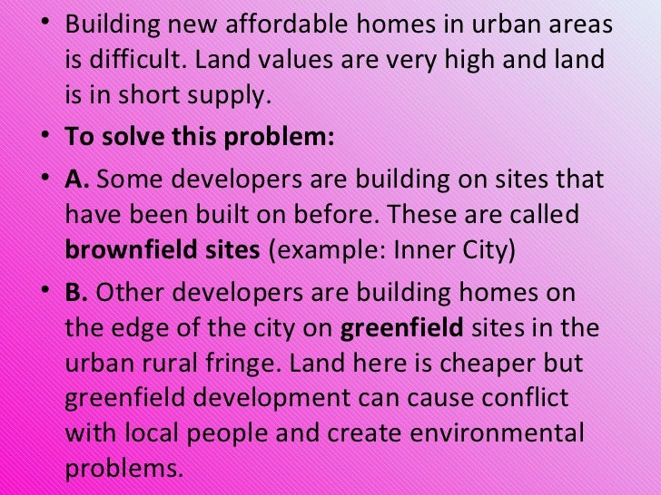 Urbanisation Building On Brownfield And Greenfield Sites
